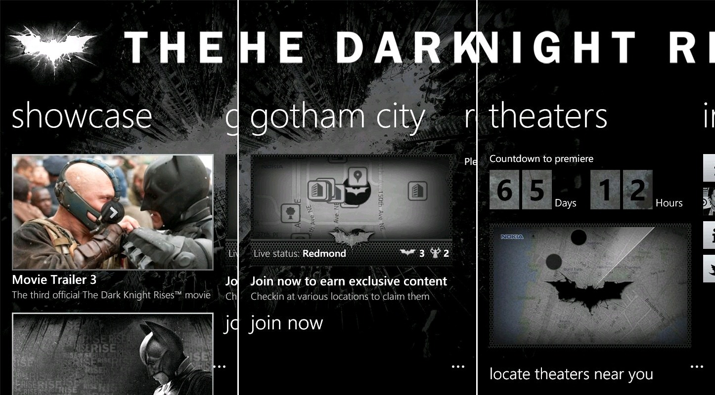 The Dark Knight Rises Nokia lumia app