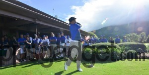 Globe EVP & COO Gil Genio fires-off the ceremonial tee to formally open the 10th Globe Business CEO Golf.