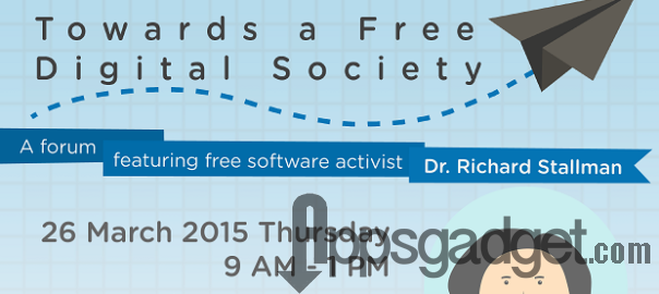 Dr. Richard Stallman will be in Cebu this Saturday, March 28th, from 1:00 PM to 3:30 PM for FREE