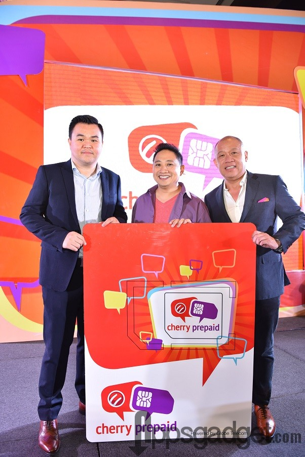 Globe President and CEO Ernest Cu rightmost joins Cherry Mobile CEO Maynard Ngu leftmost and brand ambassador Michael V in the launch of the telcos co branding partnership with Cherry Mobile