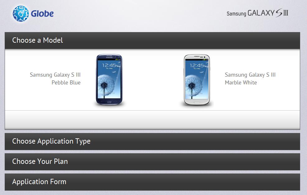 Globe Samsung Galaxy S III Preorder Page