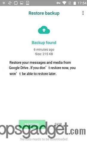 Restore WhatsApp Data Google Drive  e