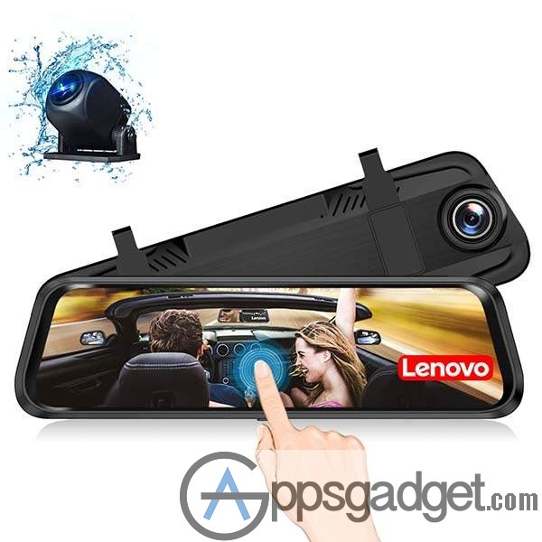 Lenovo Mirror Dash Cam with Front and Rear Dual Lens