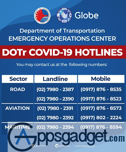 COVID-19 Hotlines by DOTr and Globe APPSGADGET