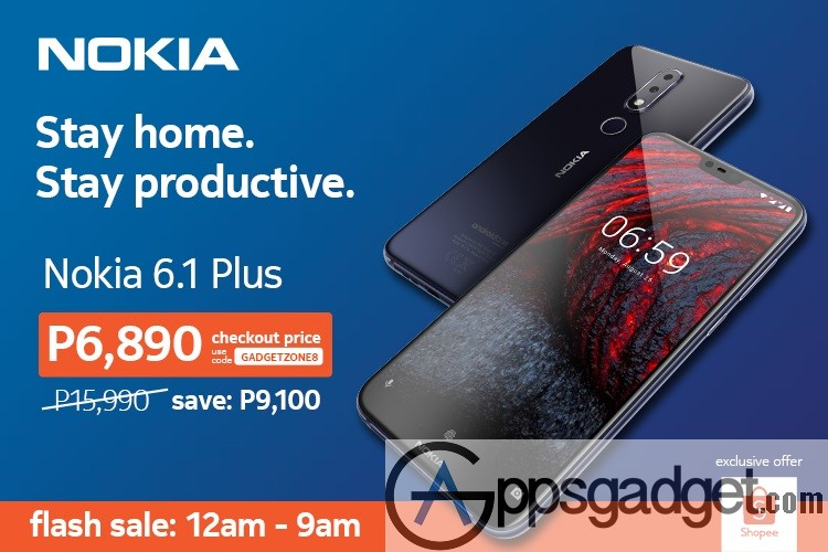 Nokia 6.1 Plus 50% discount from Php15,990 to Php6,890 at Shopee flash sale Code GadgetZone8 #Bothie