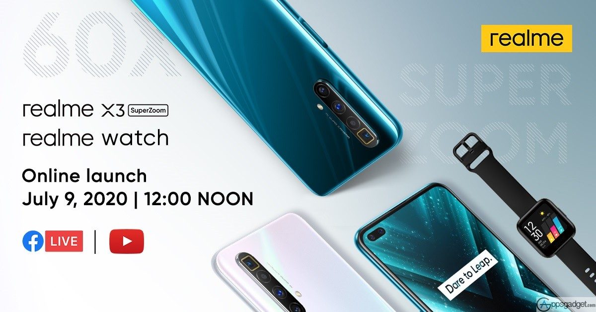 Now Official realme X3 SuperZoom and realme Watch To Be Launched on July 9