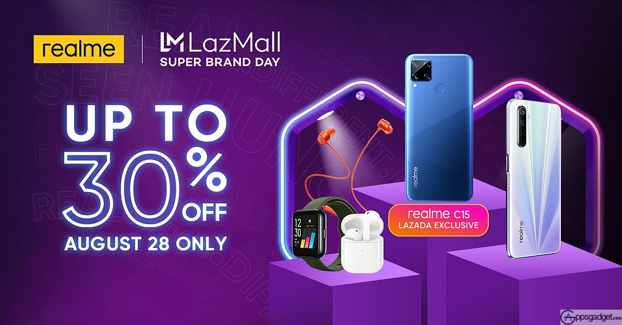 realme Lazmall Lazada Super Brand Day Sale up 30% Off on August 28 Only