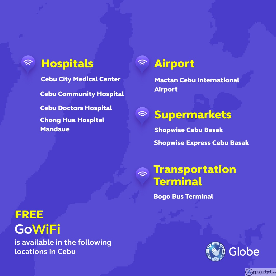 Cebu List of GoWiFi Free WiFi in Hospitals and Supermarkets
