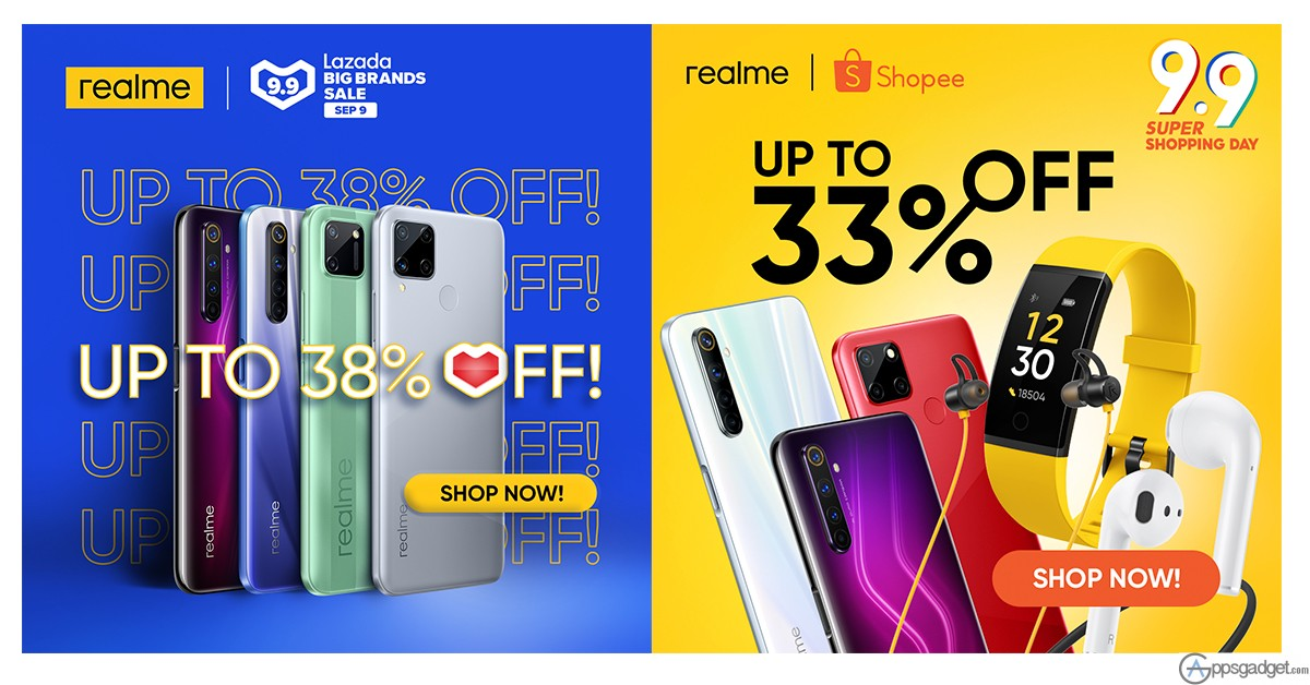 realme PH Discount Promos up to 38% off on Lazada, Shopee 9.9 Sale