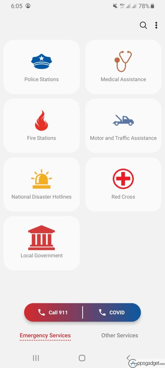 SAMSUNG 321 App Features Local Government Contacts and Hotlines Nationwide