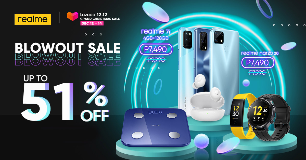 List of realme Smartphones and AIoT Devices in Lazada 12.12 Grand Christmas Sale with discounts of up to 51%